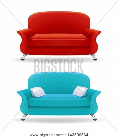 Interior design with realistic sofa. Editable vector illustration