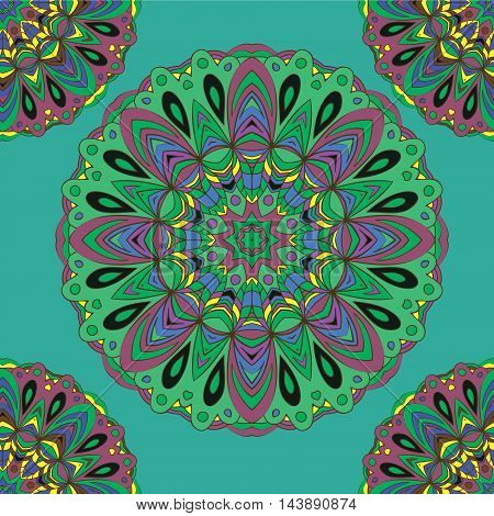 Colorful seamless pattern mandala, can be used for wallpaper, pattern fills, web page background, surface textures. Arabic, India, Islam, Asia. Happy design pattern.