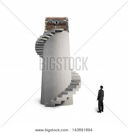 Treasure Chest On Spiral Staircase With Man Looking Up