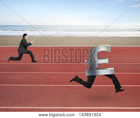 Man Running After Pound Money Symbol