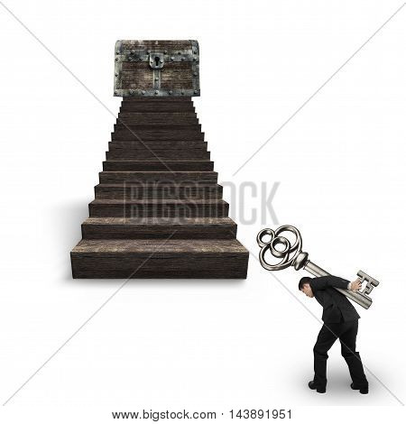 Man Carrying Key Toward Treasure Chest On Wood Stairs