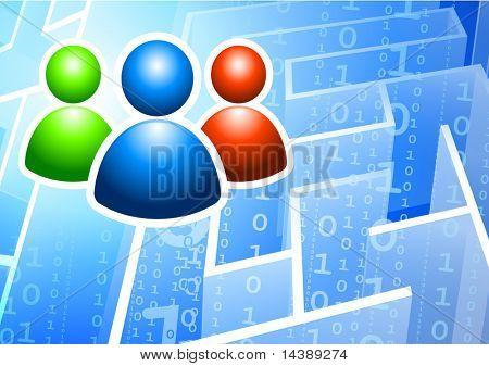 -Benutzergruppe auf Binärcode Labyrinth Hintergrund Original Vektor-Illustration