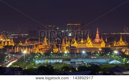Grand Palace with the park at dusk (Wat Phra Kaew Bangkok Thailand)