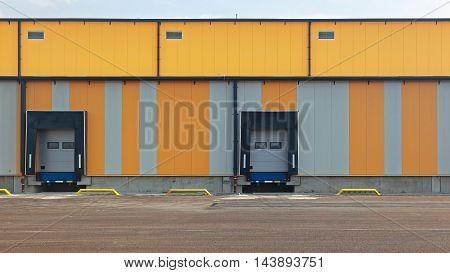 Two Docks for Loading Trucks at Distribution Warehouse