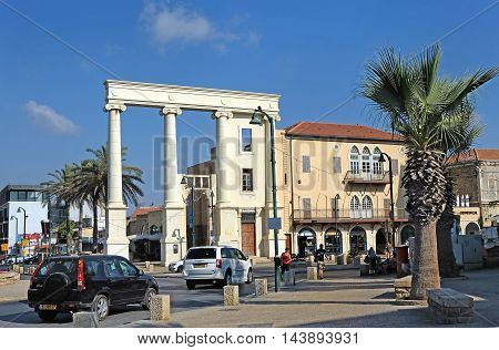 JAFFA ISRAEL - AUGUST 07 2016: Colonnade and part of the facade Symbolically restored Governor's House in Jaffa