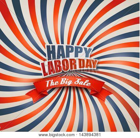 Happy Labor Day Sale Retro Background. Vector.