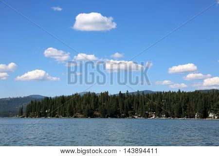 Beautiful lake with blue sky and white fluffy clouds