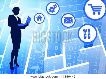 Businesswoman on Binary Code Maze Background  Original Vector Illustration