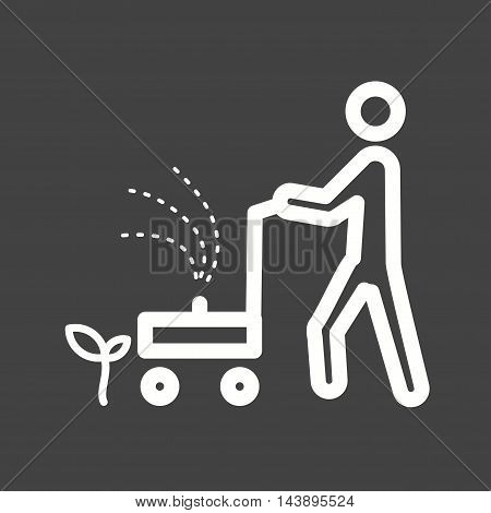 Lawn, grass, mowing icon vector image. Can also be used for people. Suitable for use on web apps, mobile apps and print media.
