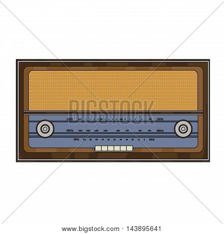 Cartoon old retro radio with station search and buttons.