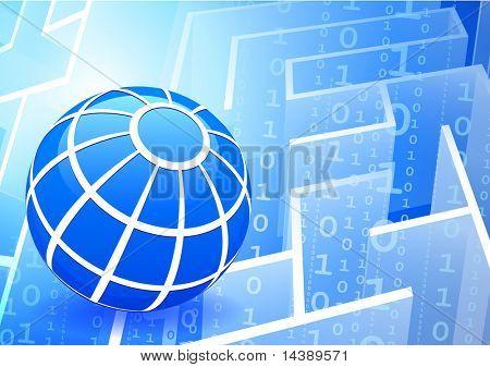 Globe on Binary Code maze Background Original Vector Illustration