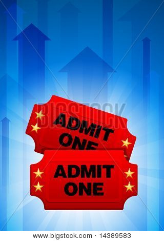Admission Tickets on Blue Arrow Background Original Vector Illustration