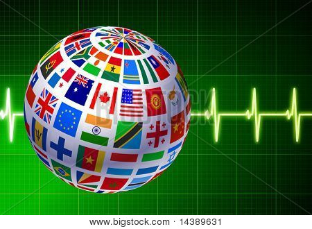 Flags Globe with Pulse Background Original Vector Illustration