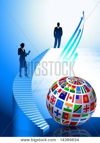 Business Couple with Flags Globe Original Vector Illustration