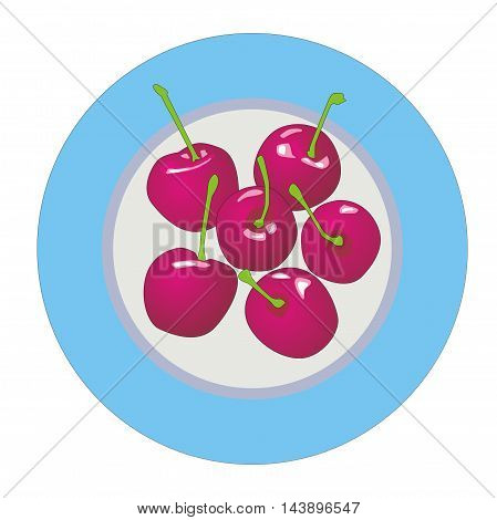 Illustration of plate of sweet fresh cherry berries with petioles