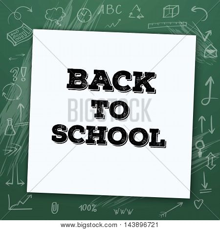 Illustration of Welcome Back to School Vector Mockup. White Notepad on Chalk Board with Handdrawn Icons