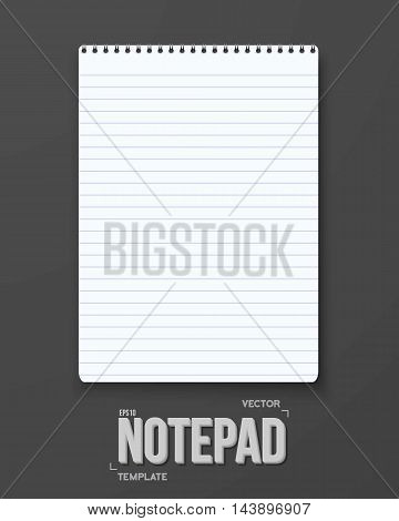 Illustration of Realistic Vector Notepad Office Equipment Element. White Paper Spiral Notepad