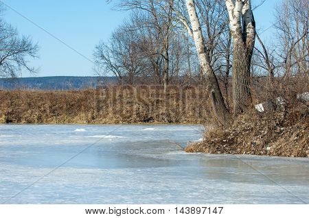 Frozen Lake In The Spring. Spring Ice
