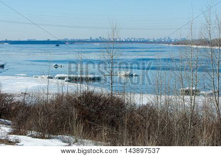 River With Broken Ice. Ice Hummocks On The River In Spring.