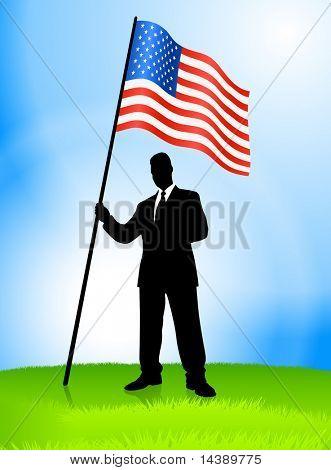 Businessman Leader Holding United States Flag Original Vector Illustration EPS10