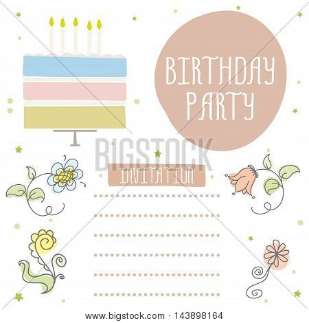 Happy birthday cute invitation card with cakecandles and flowers. Vector illustration