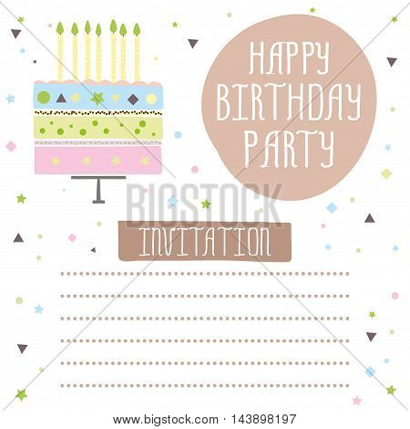 Happy birthday cute invitation card with cakecandles. Vector illustration