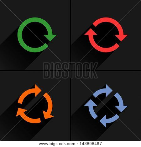 4 color arrow loop refresh reload rotation icon. Volume 02. Flat icon with black long shadow on gray background. Simple solid plain minimal style. Vector illustration web design elements 8 eps