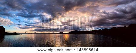 Sunset on sea bay