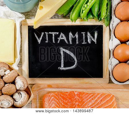 Foods Rich In Vitamin D. Healthy Diet Concept.