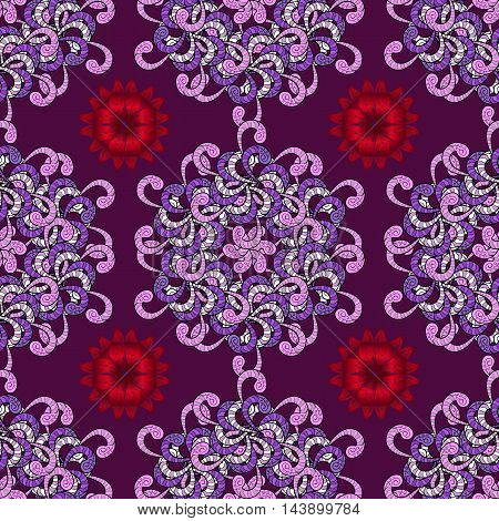 Vector boho chic flower seamless pattern. Mandala design element. Unusual flourish ornament. Blue pink lilac red. Vector illustaration.
