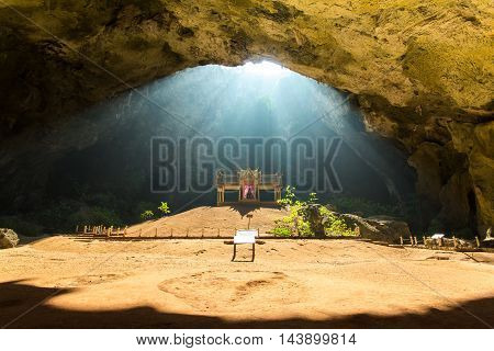 Beautiful landscape Sun beam in cave, Thailand
