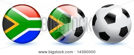 Soccer Ball and South Africa Internet Button Original Vector Illustration AI8 Compatible