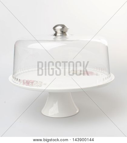 Cake Stand Or Glass Cake Tray On A Backgeound.