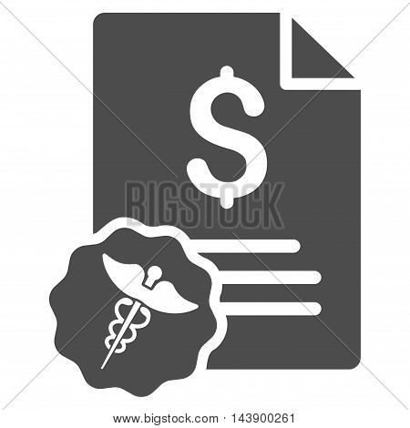 Medical Invoice icon. Vector style is flat iconic symbol with rounded angles, gray color, white background.
