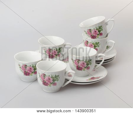 Teacup Or Teacup Set On A Background.