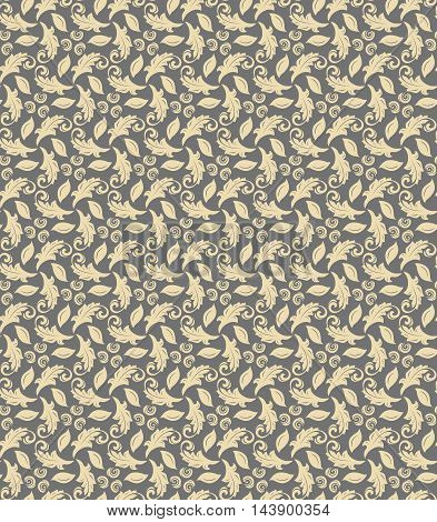 Floral golden ornament. Seamless abstract classic pattern with flowers