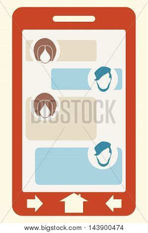 Abstract messenger screen. Between man and woman conversation. Vintage human heads icons.