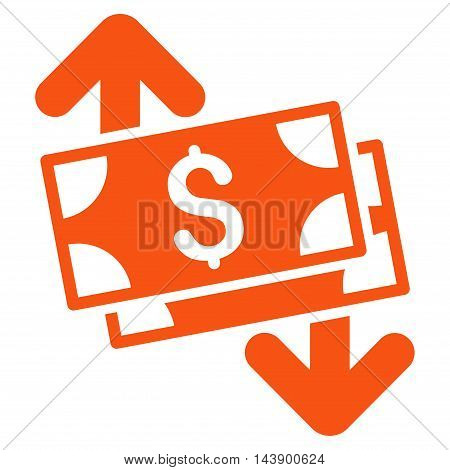 Banknotes Spending icon. Vector style is flat iconic symbol with rounded angles, orange color, white background.