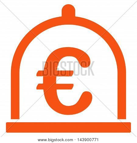 Euro Storage icon. Vector style is flat iconic symbol with rounded angles, orange color, white background.