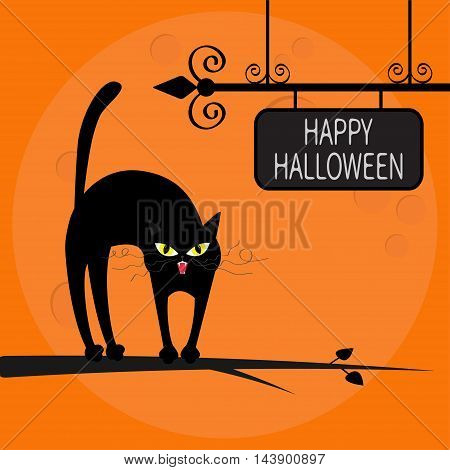 Cat arch back on tree branch. Happy Halloween greeting card. Wrought iron sign board. Yellow eyes fangs curl moustaches whisker. Funny cartoon character Big moon Orange background Flat design Vector