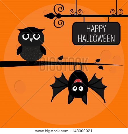 Happy Halloween card. Bat hanging on tree. Wrought iron sign board. Owl bird. Cute cartoon character set. Baby illustration collection. Flat design. Orange background Big moon. Vector illustration