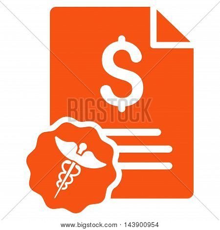 Medical Invoice icon. Vector style is flat iconic symbol with rounded angles, orange color, white background.