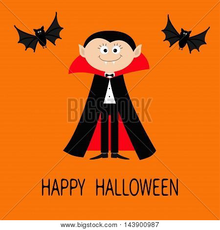 Count Dracula wearing black and red cape. Cute cartoon vampire character with fangs. Two flying bat animal. Happy Halloween. Flat design. Orange background. Vector illustration