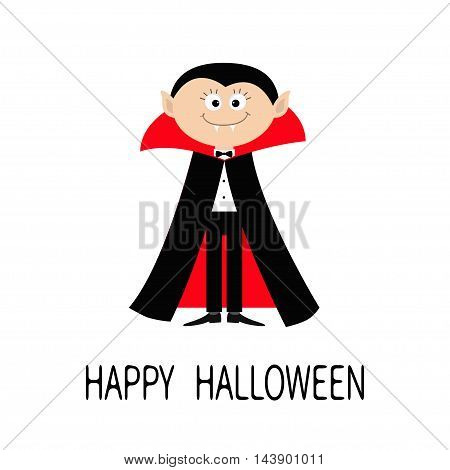 Count Dracula wearing black and red cape. Cute cartoon vampire character with fangs. Happy Halloween. Flat design. White background. Isolated. Vector illustration