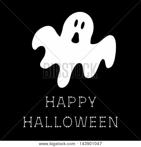 Funny flying ghost. Happy Halloween bone text. Greeting card. Cute cartoon character. Scary spirit. Baby collection. Black background. Flat design. Vector illustration