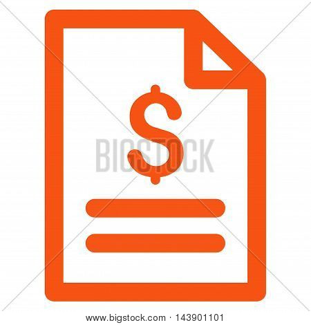 Price List icon. Vector style is flat iconic symbol with rounded angles, orange color, white background.