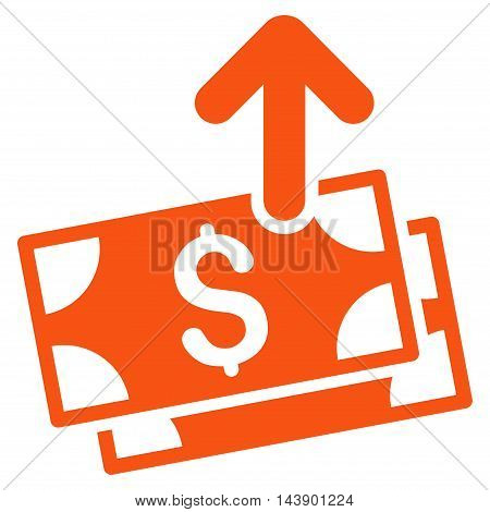 Send Banknotes icon. Vector style is flat iconic symbol with rounded angles, orange color, white background.