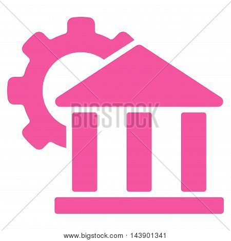 Bank Settings icon. Vector style is flat iconic symbol with rounded angles, pink color, white background.