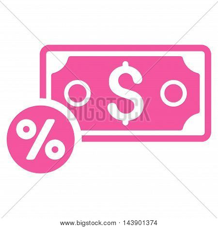 Banknote Percent icon. Vector style is flat iconic symbol with rounded angles, pink color, white background.