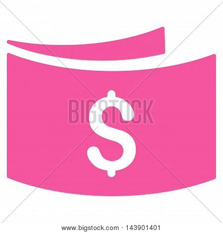 Banknotes icon. Vector style is flat iconic symbol with rounded angles, pink color, white background.